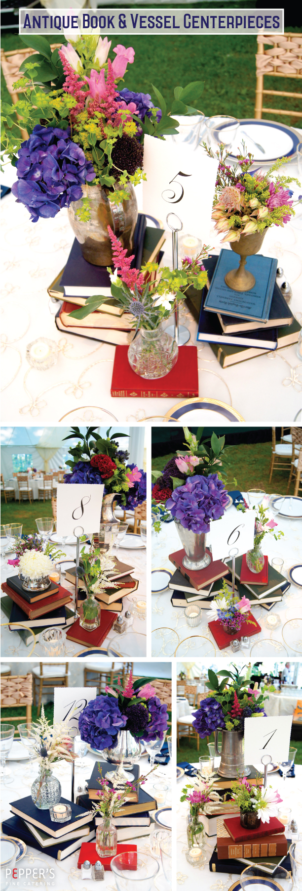 Antique Book and Vessel Centerpieces