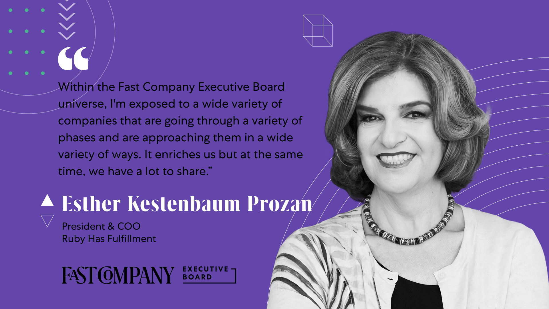 For Esther Kestenbaum Prozan, Fast Company Executive Board is a Valuable Knowledge-Sharing Platform